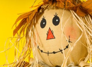 Close up of smiling scarecrow.
