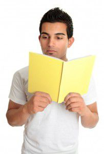 Man reading from a book